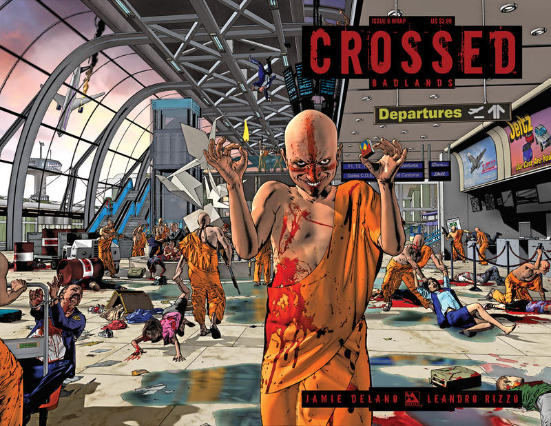 Cover for Crossed Badlands (Avatar Press, 2012 series) #6 [Incentive Red Crossed Cover - Jacen Burrows]