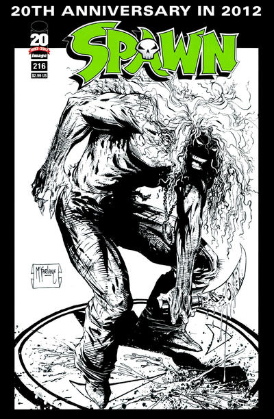 Cover for Spawn (Image, 1992 series) #216 [Sketch Variant Cover by Todd McFarlane]