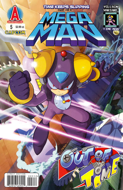 Cover for Mega Man (Archie, 2011 series) #5 [Villain Variant: Time Man Cover Patrick Spaziante]