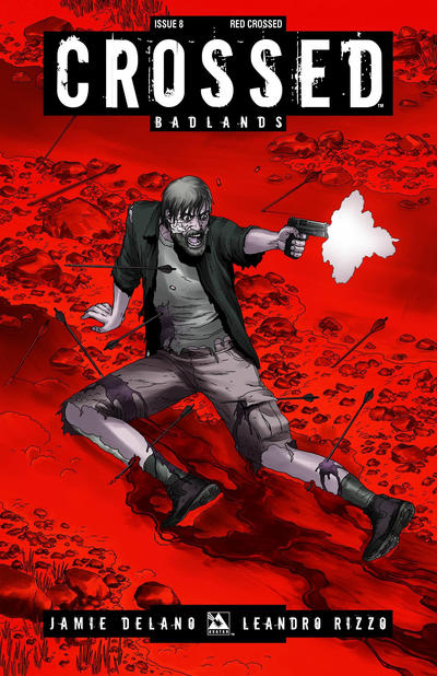Cover for Crossed Badlands (Avatar Press, 2012 series) #8 [Red Crossed Variant Cover by Jacen Burrows]