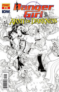 Cover Thumbnail for Danger Girl and the Army of Darkness (Dynamite Entertainment, 2011 series) #6 [Nick Bradshaw Black and White Retailer Incentive Cover]