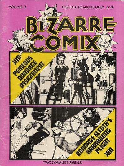 Cover for Bizarre Comix (Bélier Press, 1975 series) #14 - Perilous Bondage Assignment; Bondage Sleuth's Harrowing Plight