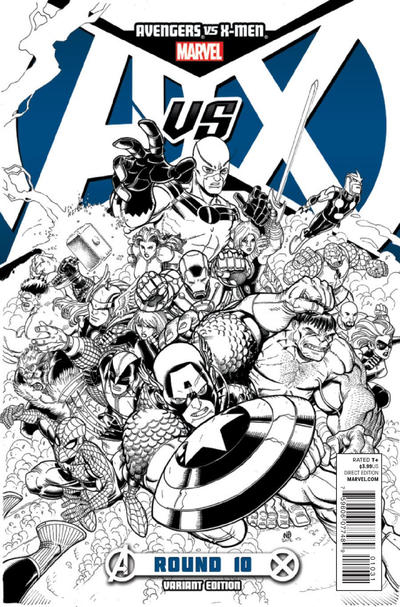 Cover for Avengers vs. X-Men (Marvel, 2012 series) #10 [Bradshaw Sketch Variant]
