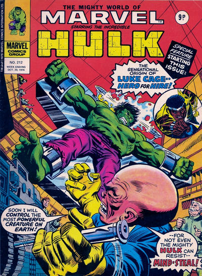 Cover for The Mighty World of Marvel (Marvel UK, 1972 series) #212