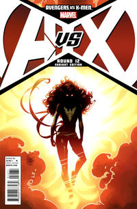 Cover for Avengers vs. X-Men (Marvel, 2012 series) #12 [NYCC 2012 NY Giants Avengers Exclusive Variant by Ryan Stegman]