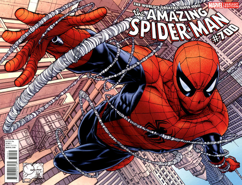 Cover for The Amazing Spider-Man (Marvel, 1999 series) #700 [2nd Printing Variant Cover by Humberto Ramos]