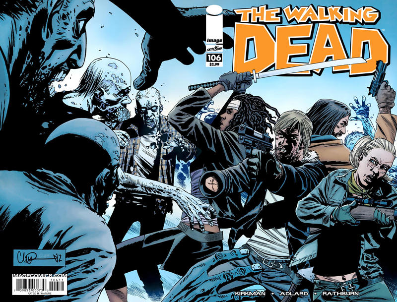 Cover for The Walking Dead (Image, 2003 series) #106 [Variant Cover by Charlie Adlard]