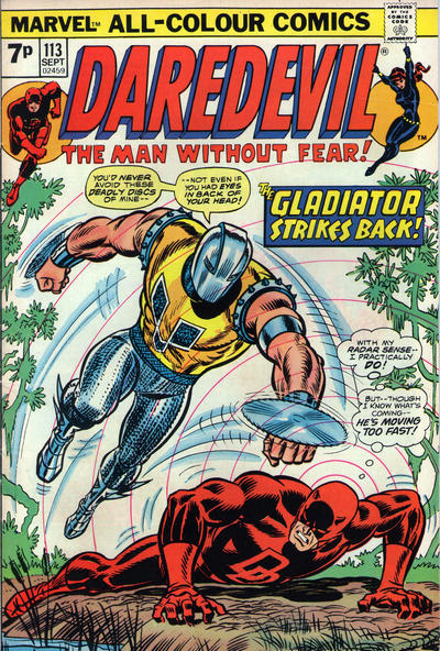 Cover for Daredevil (Marvel, 1964 series) #113 [British Price Variant]