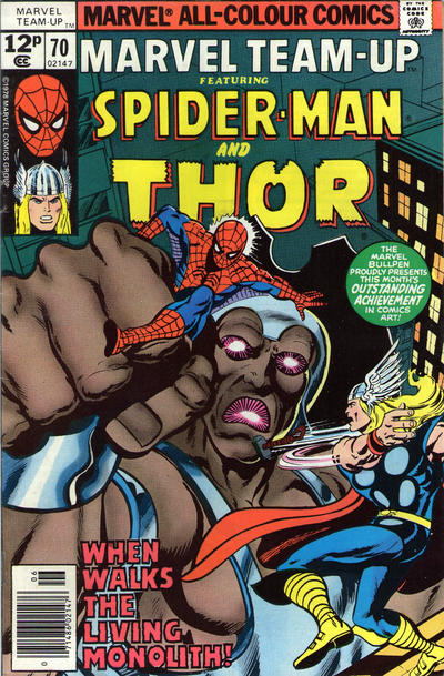 Cover for Marvel Team-Up (Marvel, 1972 series) #70 [British price variant.]