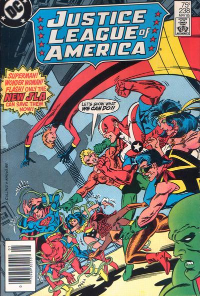Cover for Justice League of America (1960 series) #238 [Direct Sales (Comic Book Stores)]