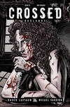 Cover for Crossed Badlands (Avatar Press, 2012 series) #22 [Red Crossed Variant Cover by Raulo Caceres]