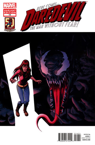 Cover for Daredevil (2011 series) #14 [Amazing Spider-Man 50th Anniversary variant cover]