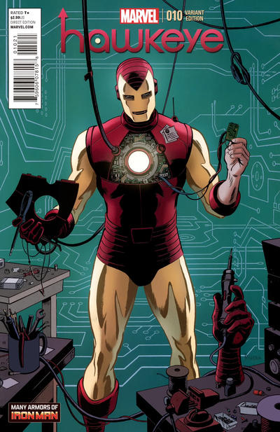 Cover for Hawkeye (Marvel, 2012 series) #10 [Many Armors of Iron Man]