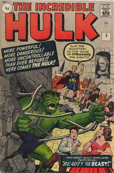 Cover for The Incredible Hulk (Marvel, 1962 series) #5 [British Price Variant]