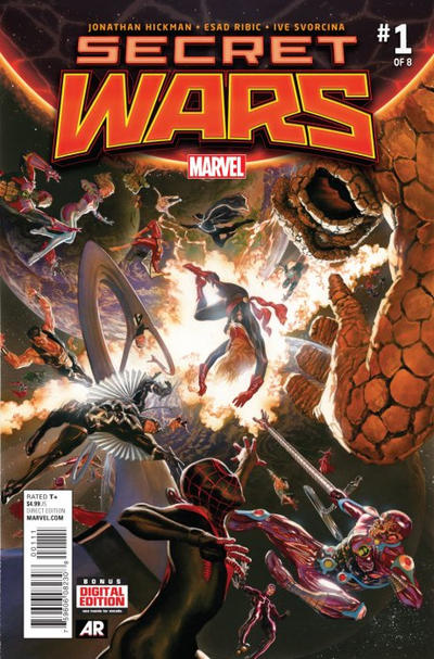 Cover for Secret Wars (Marvel, 2015 series) #1 [Midtown Exclusive J. Scott Campbell Black and White Variant]