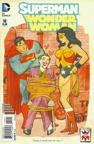 Cover for Superman / Wonder Woman (DC, 2013 series) #18 [Cliff Chiang The Joker 75th Anniversary Variant]
