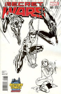 Cover Thumbnail for Secret Wars (Marvel, 2015 series) #1 [Midtown Exclusive J. Scott Campbell Black and White Variant]
