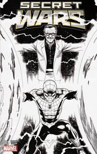Cover Thumbnail for Secret Wars (Marvel, 2015 series) #1 [Four Color Grails Stan Lee Collectibles Exclusive Ed McGuinness Black and White Variant]