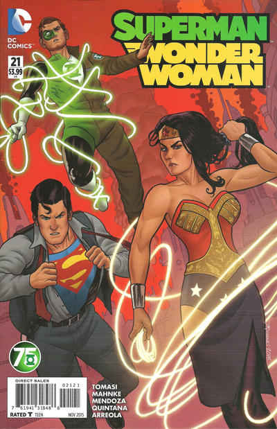 Cover for Superman / Wonder Woman (DC, 2013 series) #21 [Green Lantern 75th Anniversary Variant]