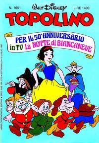 Cover Thumbnail for Topolino (Arnoldo Mondadori Editore, 1949 series) #1651