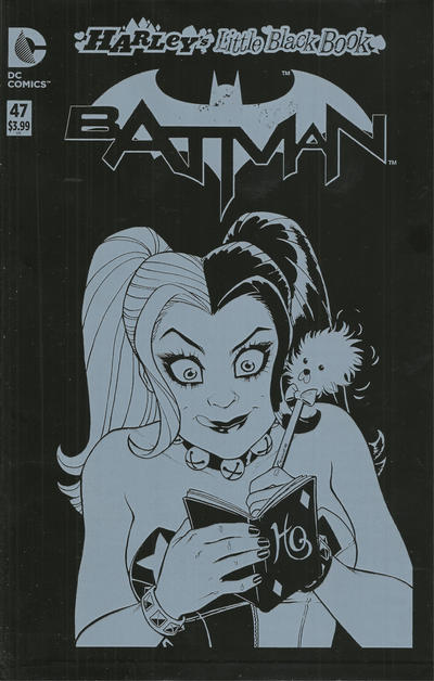 Cover for Batman (DC, 2011 series) #47 [Harley's Little Black Book Alex Ross Black & White Cover]