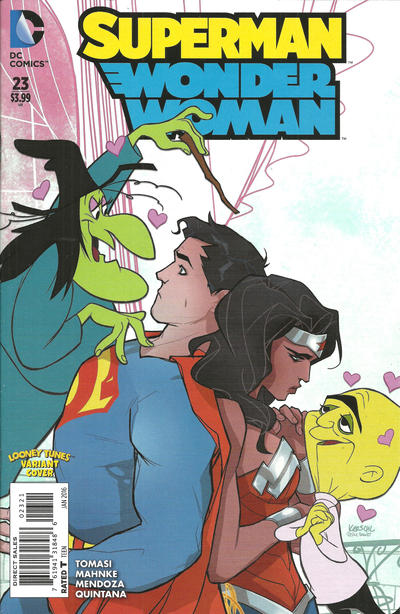 Cover for Superman / Wonder Woman (DC, 2013 series) #23 [Looney Tunes Variant Cover]