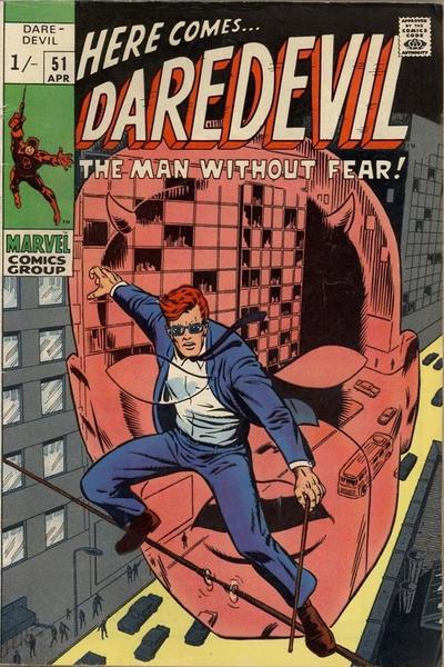Cover for Daredevil (Marvel, 1964 series) #51 [British Price Variant]