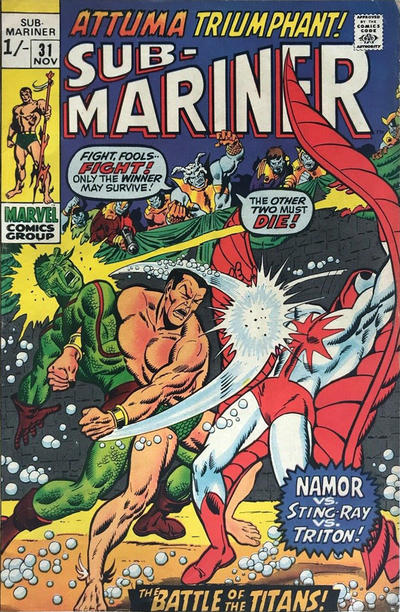 Cover for Sub-Mariner (Marvel, 1968 series) #31 [Regular Edition]