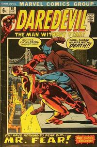 Cover Thumbnail for Daredevil (Marvel, 1964 series) #91 [British]