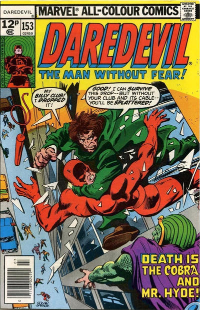 Cover for Daredevil (Marvel, 1964 series) #153 [British]
