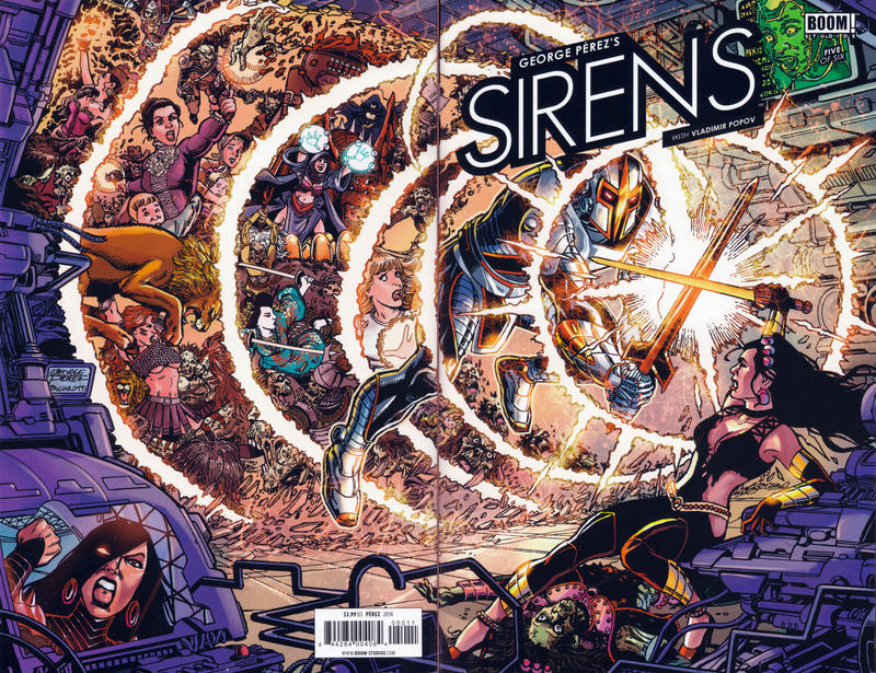 Cover for George Pérez's Sirens (Boom! Studios, 2014 series) #5 [Regular Cover]