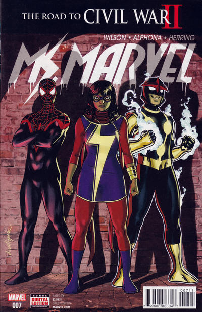 Cover for Ms. Marvel (Marvel, 2016 series) #7 [Incentive Pasqual Ferry 'Horseman of Apocalypse' Variant]