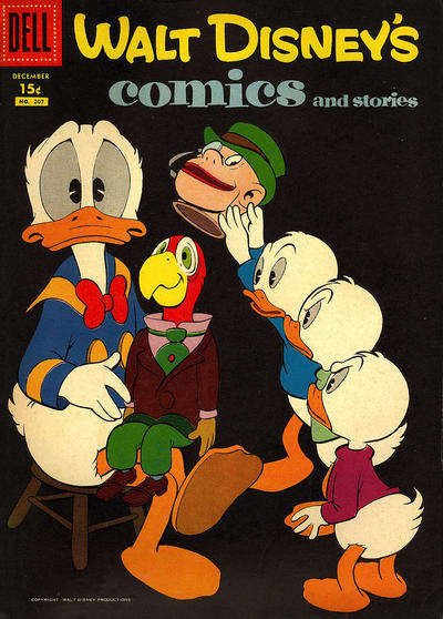 Cover for Walt Disney's Comics and Stories (Dell, 1940 series) #v18#3 (207) [15¢]