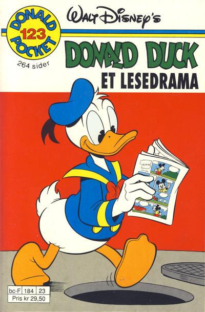 Cover for Donald Pocket (Hjemmet / Egmont, 1968 series) #123 - Donald Duck Et lesedrama [1. opplag]