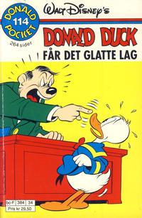 Cover Thumbnail for Donald Pocket (Hjemmet / Egmont, 1968 series) #114 - Donald Duck får det glatte lag [Reutsendelse bc 384 34]