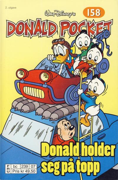 Cover for Donald Pocket (Hjemmet / Egmont, 1968 series) #158 - Donald holder seg på topp [2. utgave bc 239 07]