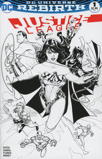 Cover Thumbnail for Justice League (DC, 2016 series) #1 [Midtown Comics Terry and Rachel Dodson Black and White Cover]