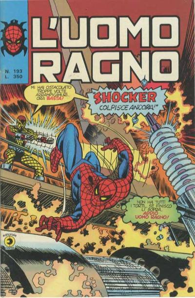 Cover for L'Uomo Ragno [Collana Super-Eroi] (Editoriale Corno, 1970 series) #193