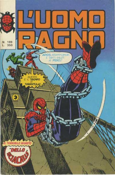 Cover for L'Uomo Ragno [Collana Super-Eroi] (Editoriale Corno, 1970 series) #189