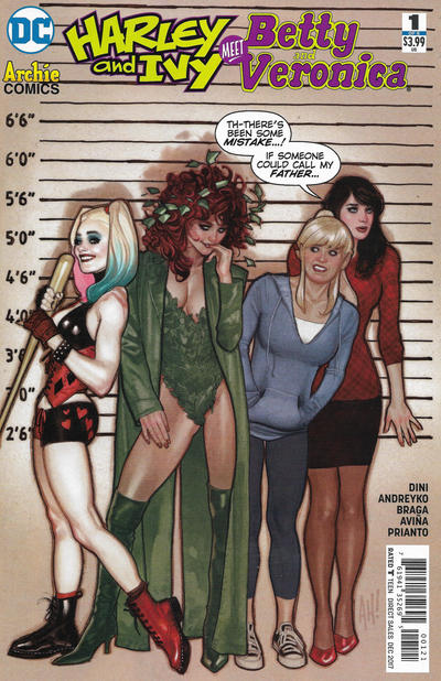 Cover for Harley & Ivy Meet Betty & Veronica (DC, 2017 series) #1 [Adam Hughes Cover]