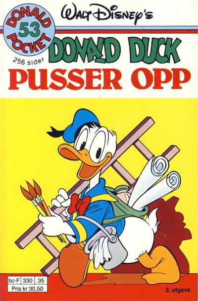 Cover for Donald Pocket (Hjemmet / Egmont, 1968 series) #53 - Donald Duck pusser opp [3. utgave bc-F 390 02]