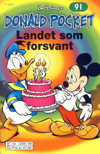 Cover Thumbnail for Donald Pocket (Hjemmet / Egmont, 1968 series) #91 - Landet som forsvant [2. utgave bc 239 99]
