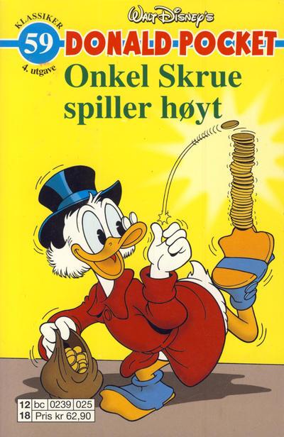 Cover for Donald Pocket (Hjemmet / Egmont, 1968 series) #59 - Onkel Skrue spiller høyt [3. utgave bc-F 390 01]