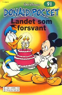 Cover Thumbnail for Donald Pocket (Hjemmet / Egmont, 1968 series) #91 - Landet som forsvant [3. utgave bc 239 13]