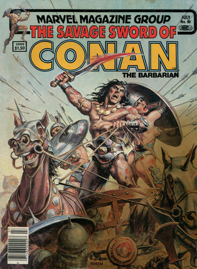 Cover for The Savage Sword of Conan (Marvel, 1974 series) #90 [Newsstand]