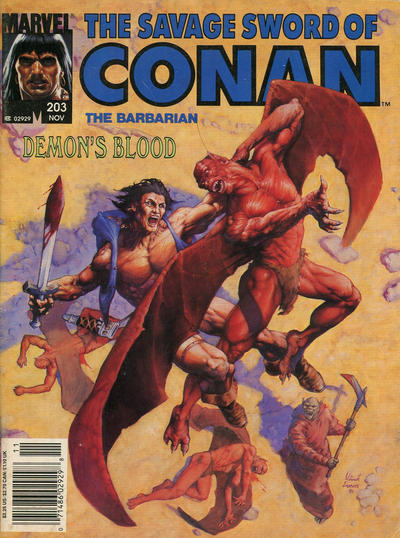 Cover for The Savage Sword of Conan (Marvel, 1974 series) #203 [Newsstand]