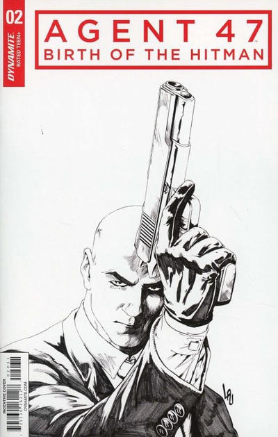 Cover for Agent 47: Birth of the Hitman (Dynamite Entertainment, 2017 series) #2 [Cover C Black and White Jonathan Lau]