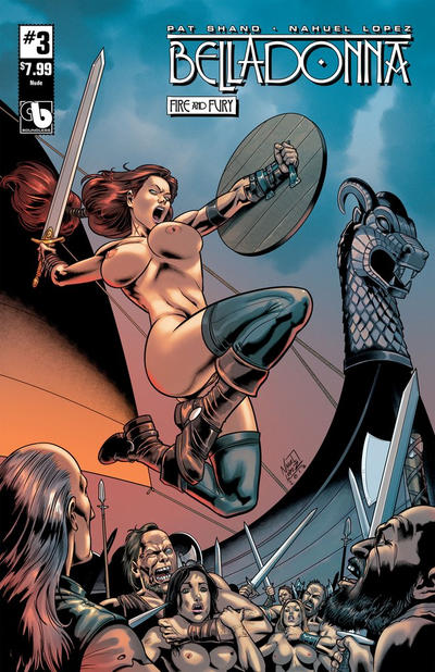 Cover for Belladonna: Fire and Fury (Avatar Press, 2017 series) #3 [Bath Time Topless Cover]