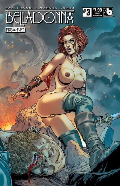 Cover for Belladonna: Fire and Fury (Avatar Press, 2017 series) #3 [Shield Maiden Nude Cover]