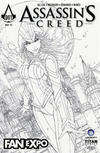 Cover for Assassin's Creed (Titan, 2015 series) #1 [2015 Toronto Fan Expo Exclusive Jamie Tyndall Black and White Variant]